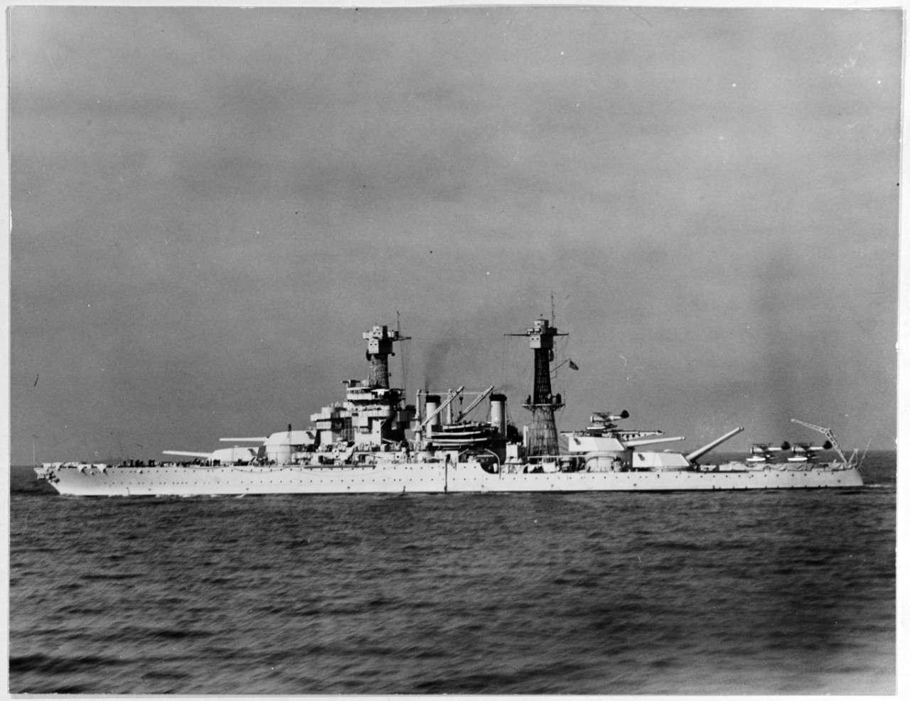 Battleship USS Colorado (BB-45) at anchor.