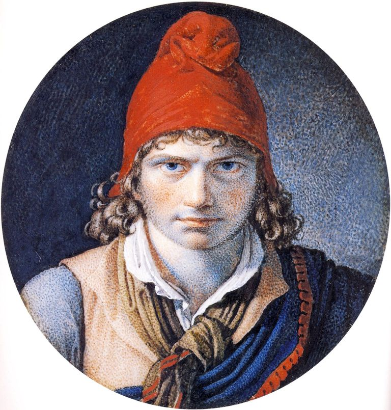 Self Portrait with a Phrygian Cap - Anne-Louis Girodet de Roussy-Trioson