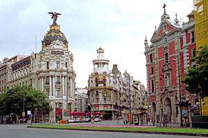 Buildings in downtown Madrid, Spain.