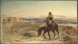 painting of man on horse in