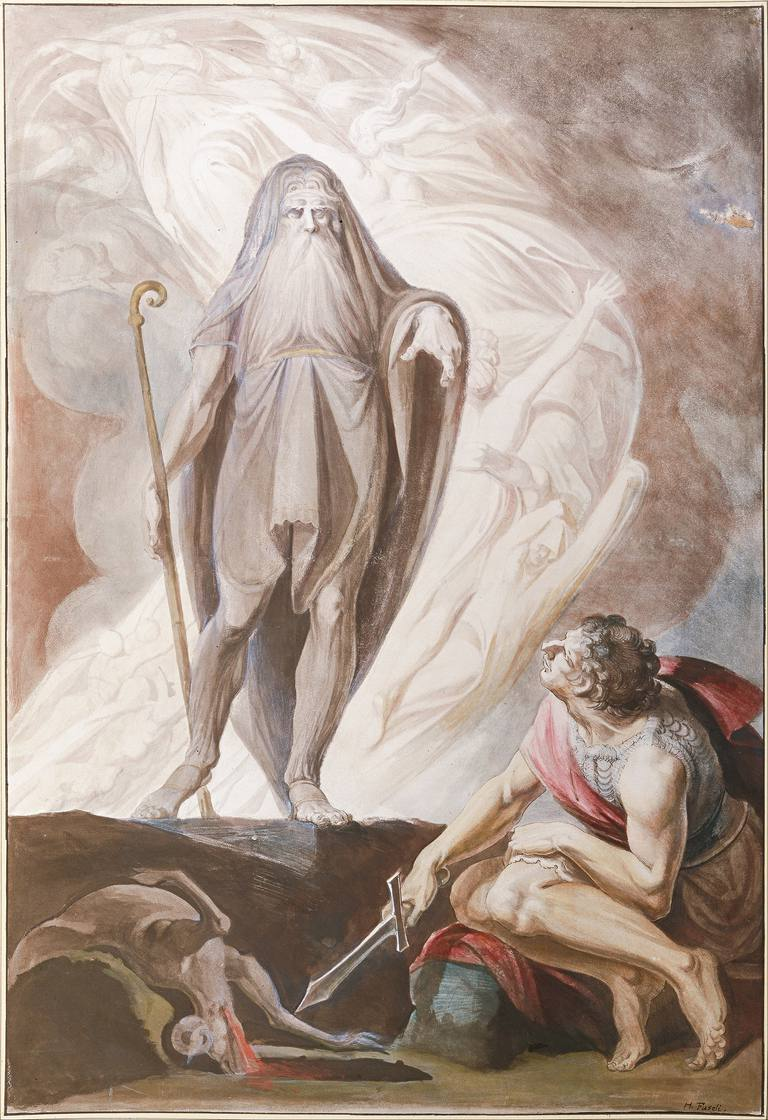 Tiresias Foretells the Future to Odysseus, 1780-1783. Artist: Füssli (Fuseli), Johann Heinrich (1741-1825)