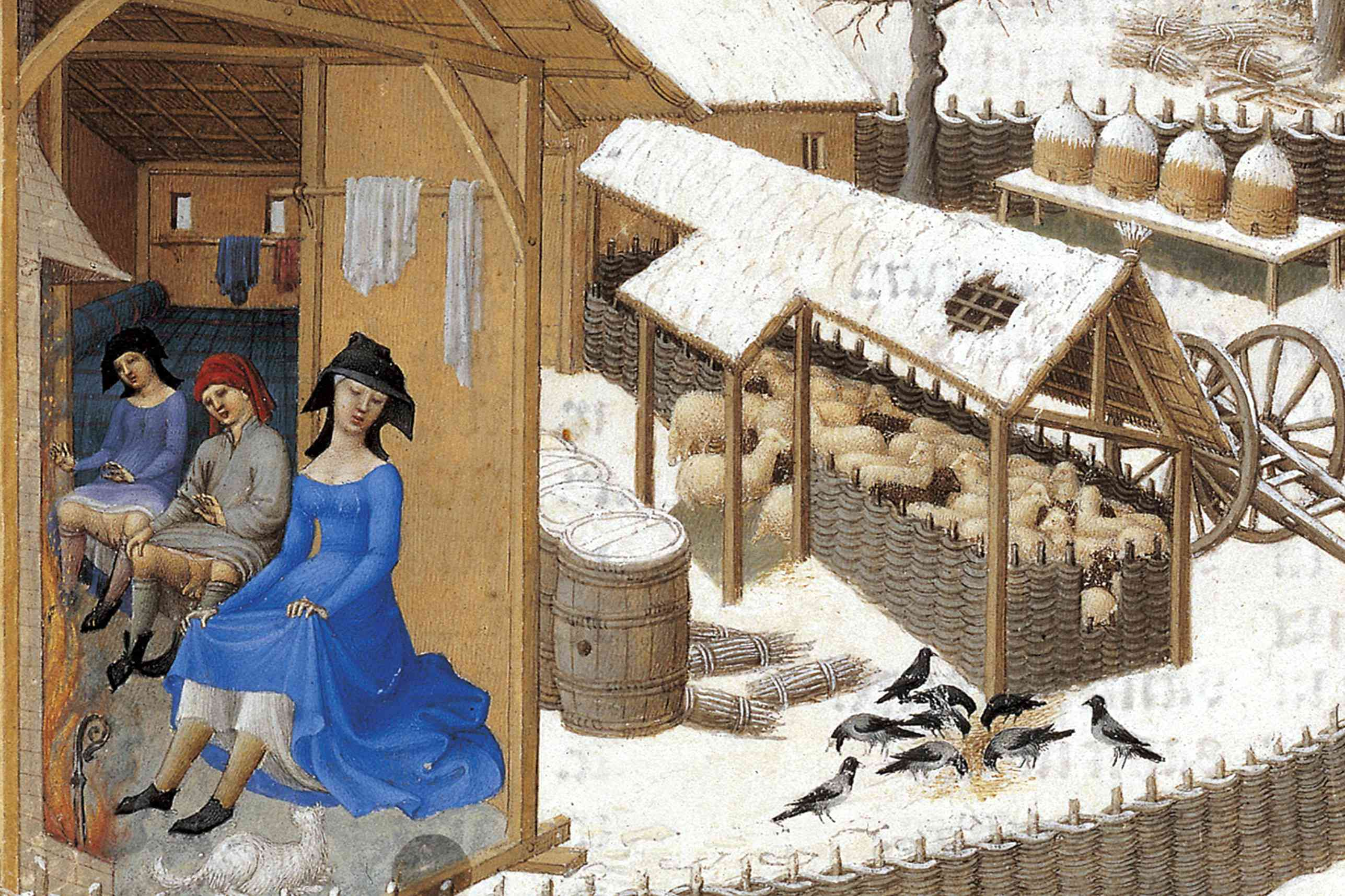 Three laborers air out beneath their undertunics in art by the Limbourg brothers