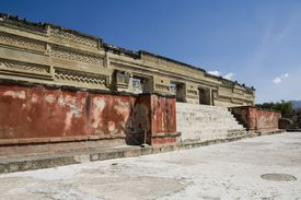 the ancient Palace of the Columns, Oaxaca, Mexico on a sunny day.