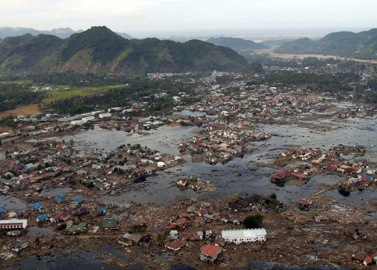 2004 tsunami destruction of a South East Asian village