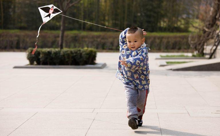 Child Playing With Kite In Park, Xian, China