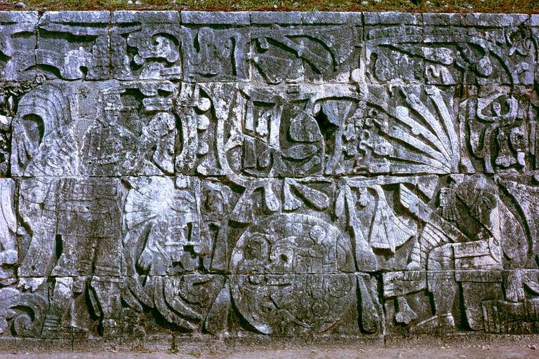 Maya sculpture at Chichen Itza shows human sacrifice by decapitation