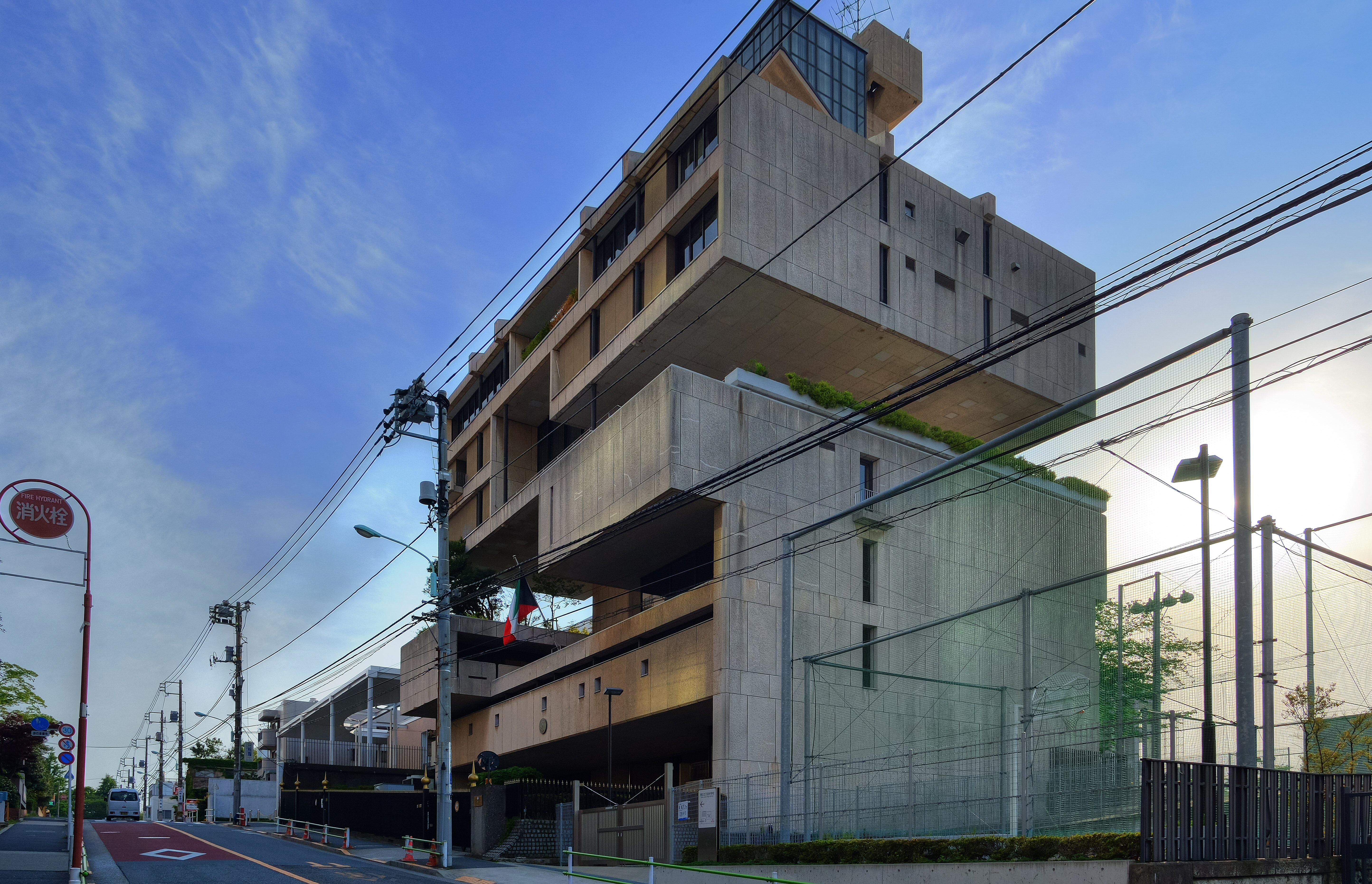 Block-like Metabolist architecture, The Embassy of the State of Kuwait, Tokyo, Japan
