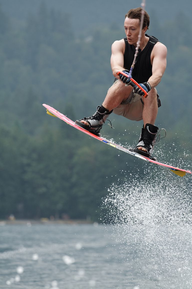 Wakeboarder performing a jump