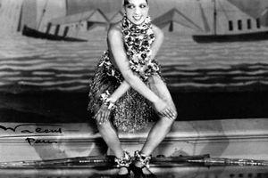 Black and white photo of Josephine Baker dancing the Charleston.