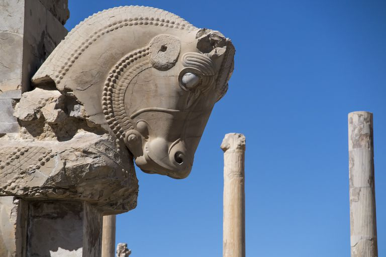 Warhorse head emerging from a column in Persepolis, Shiraz, Fars Province, Iran.