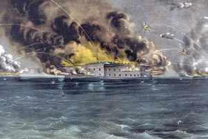 Currier and Ives depiction of bombardment of Fort Sumter