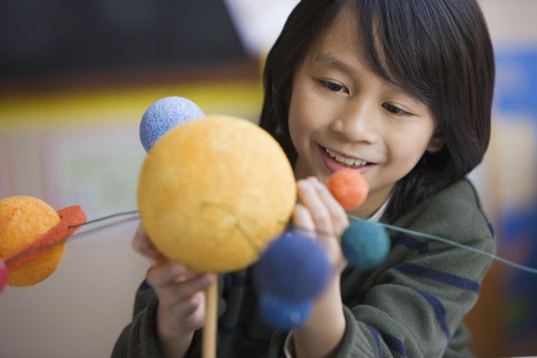 child making planet model in classroom
