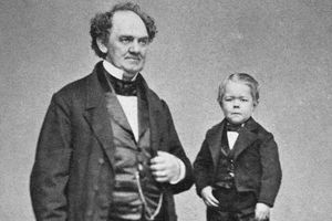 Photograph of P.T. Barnum and General Tom Thumb