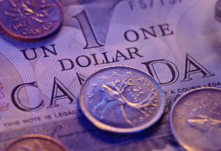 Canadian currency, assorted coins on one-dollar bill, close-up