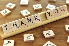 'thank you' written in Scrabble tiles