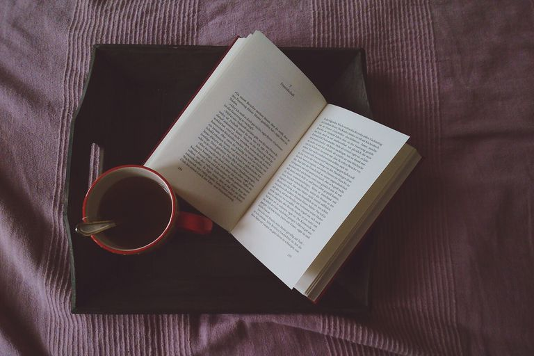 Open book and coffee