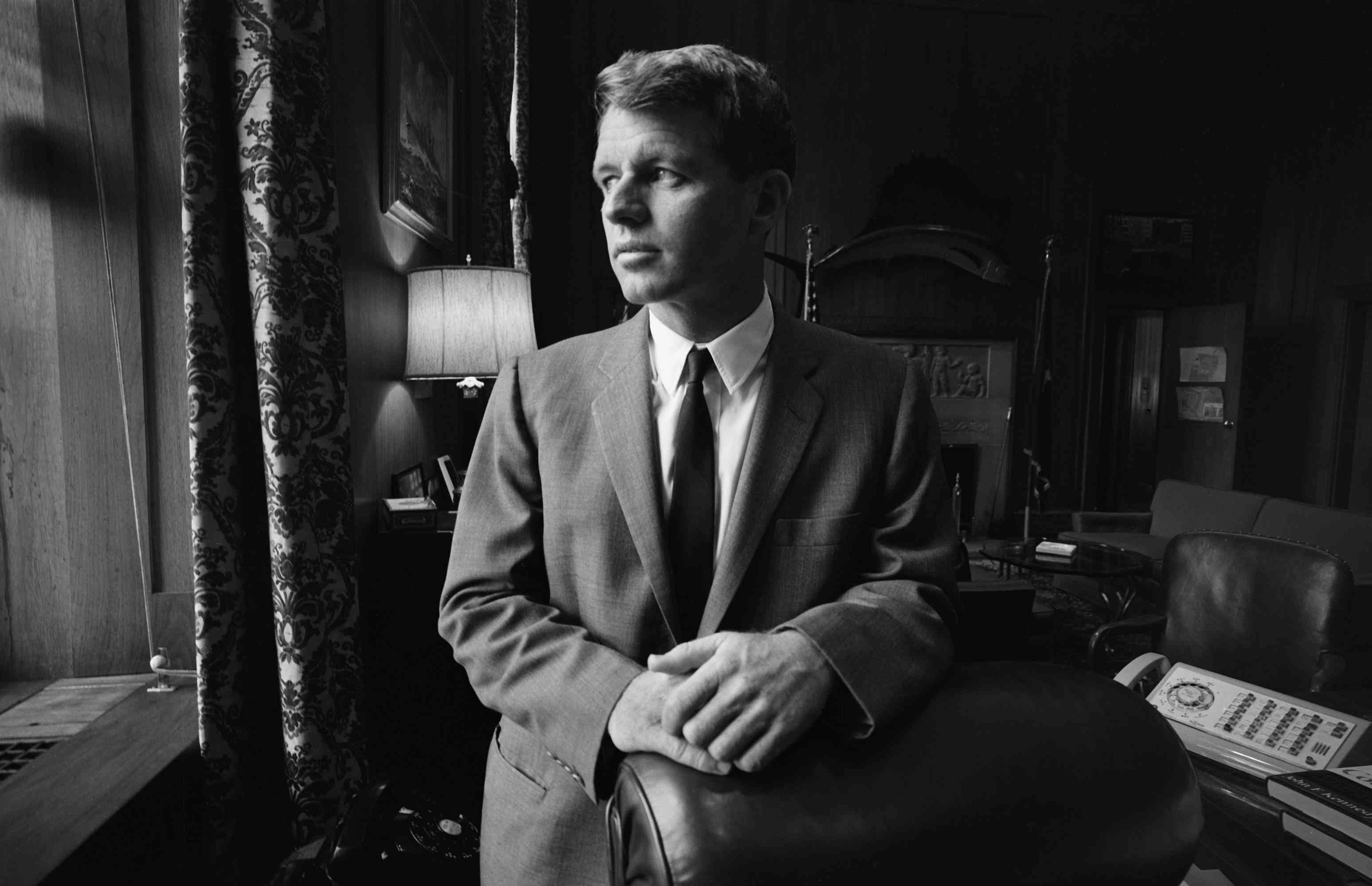 photo of Robert Kennedy in his Justice Department office