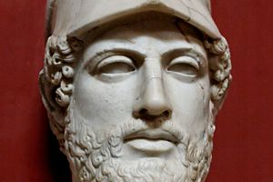 """Bust of Pericles bearing the inscription """"Pericles, son of Xanthippus, Athenian"""". Marble, Roman copy after a Greek original from ca. 430 BC."""