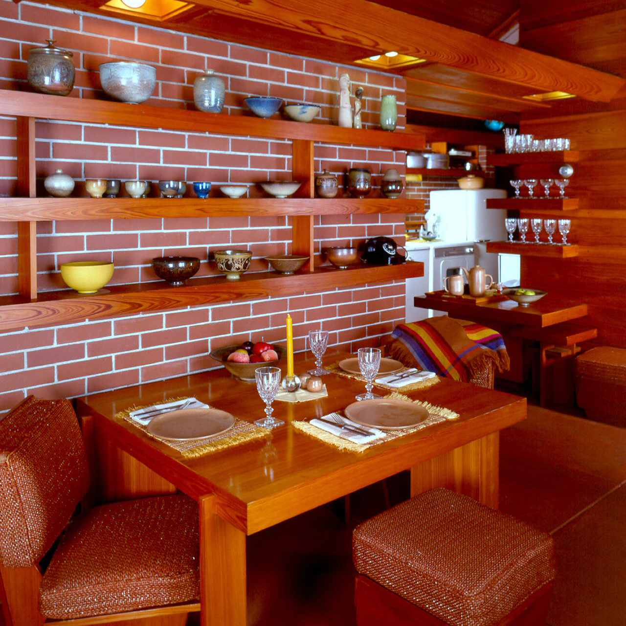 Dining area at the Zimmerman house by Frank Lloyd Wright