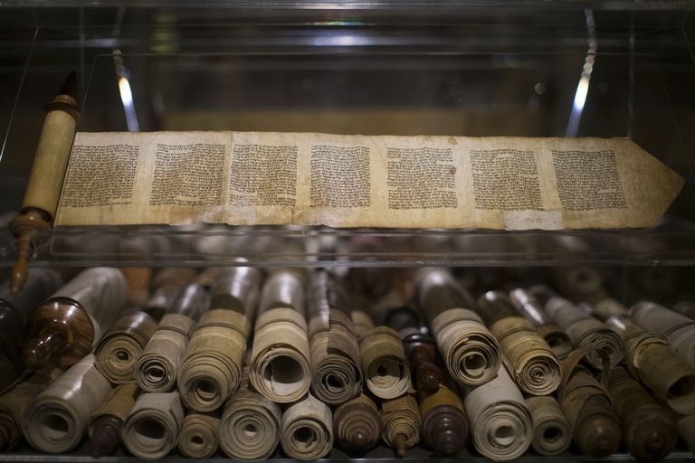 """Ancient Bible manuscripts displayed at the """"Book of Books"""" exhibition in Jerusalem."""