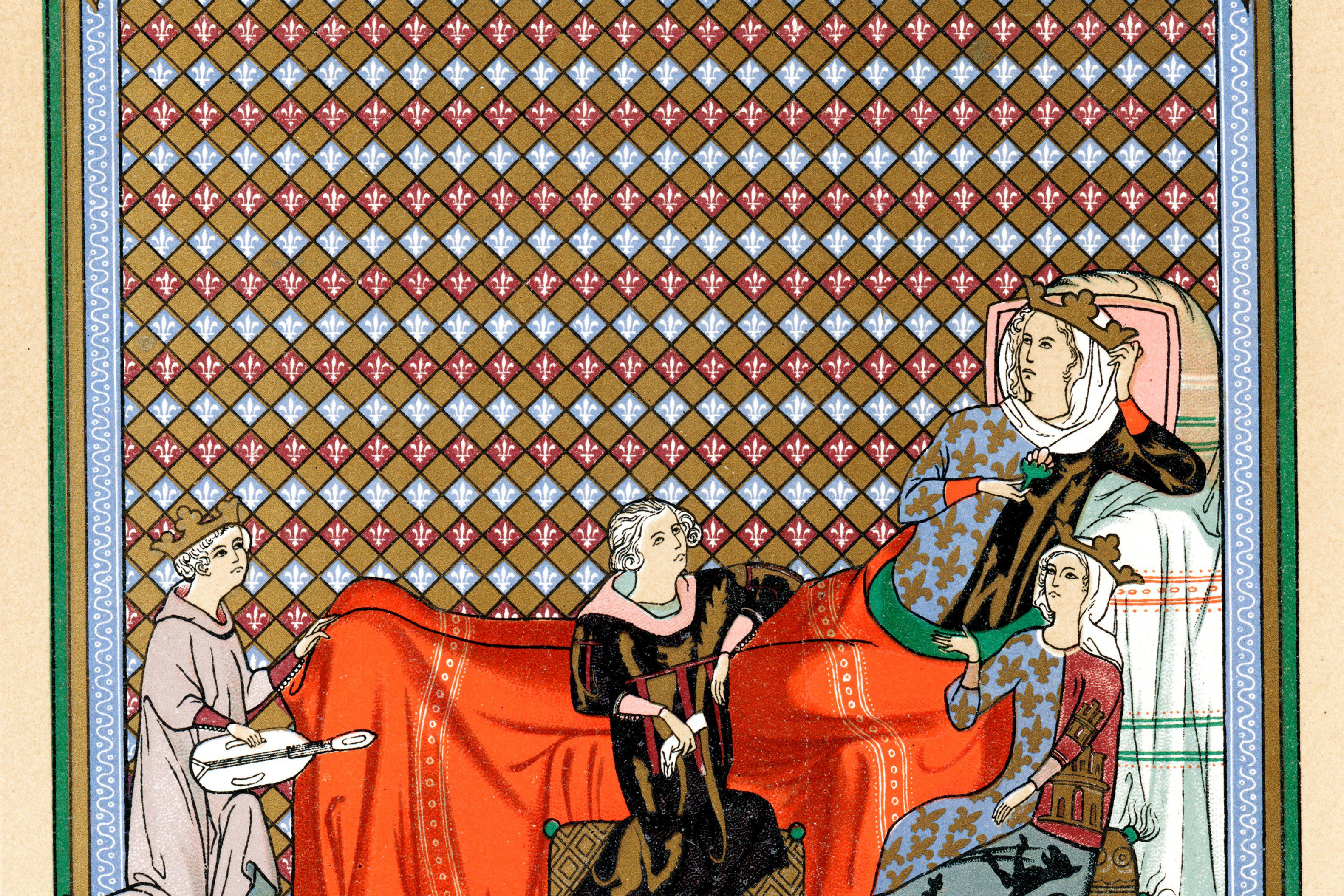 Minstrel, 13th century, reading to Blanche of Castile, Queen of France and granddaughter of Eleanor of Aquitaine, and to Mathilde de Brabant, Countess of Artois