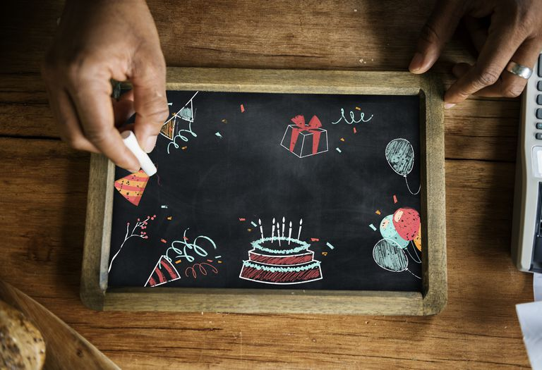 birthday doodles on a chalkboard