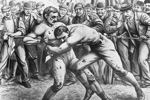 Illustration of bare knuckles boxing match