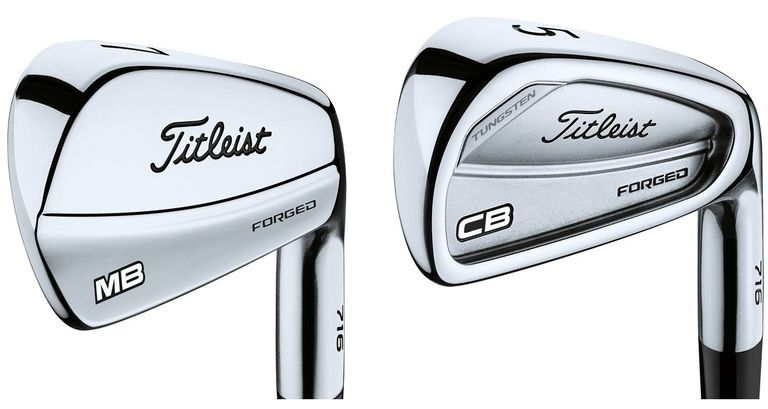A Titleist muscleback iron next to a cavityback iron