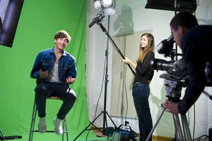 media student being interviewed