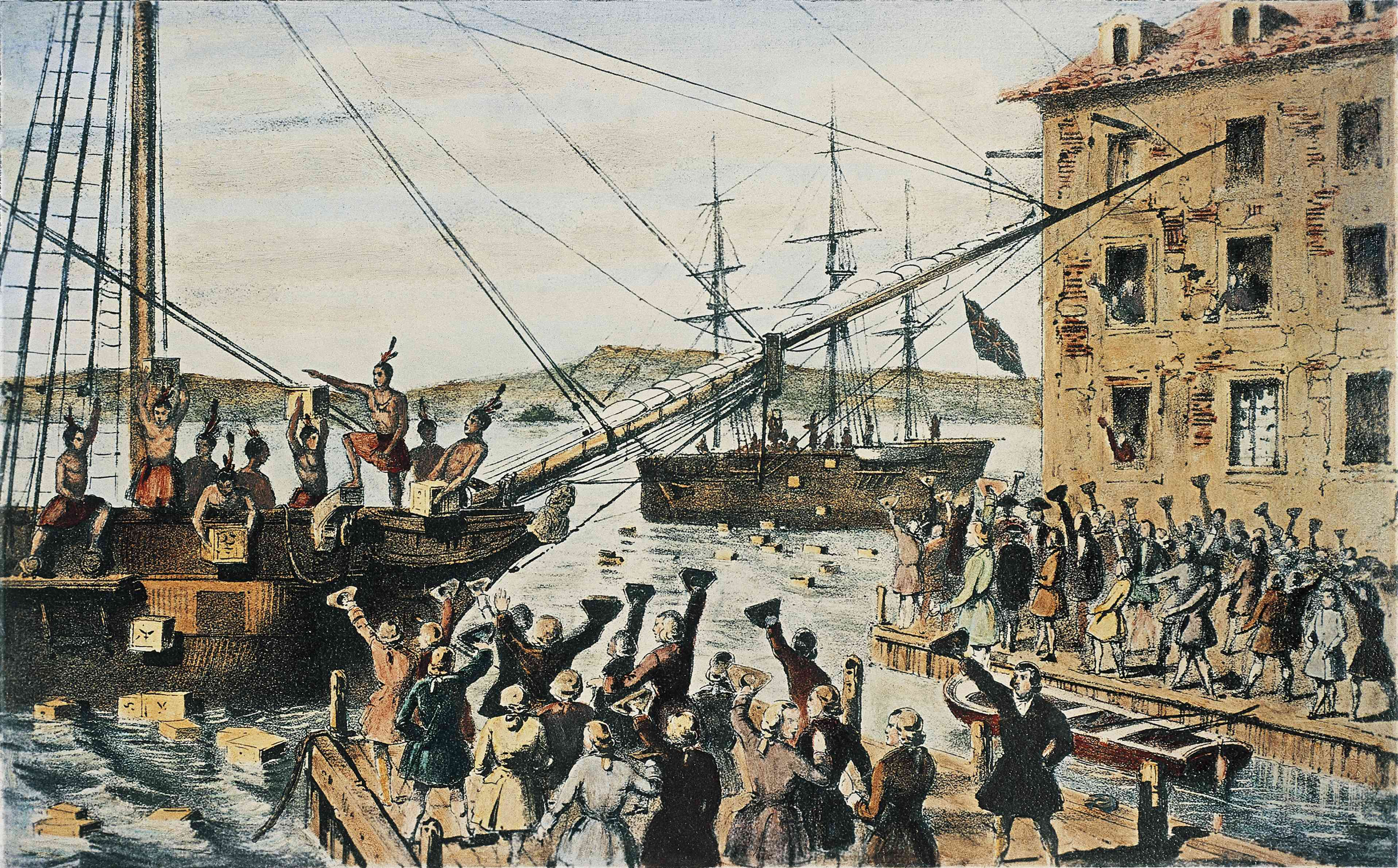 Boston Tea Party, English tea chests thrown overboard in Boston Harbor by colonists, December 16, 1773