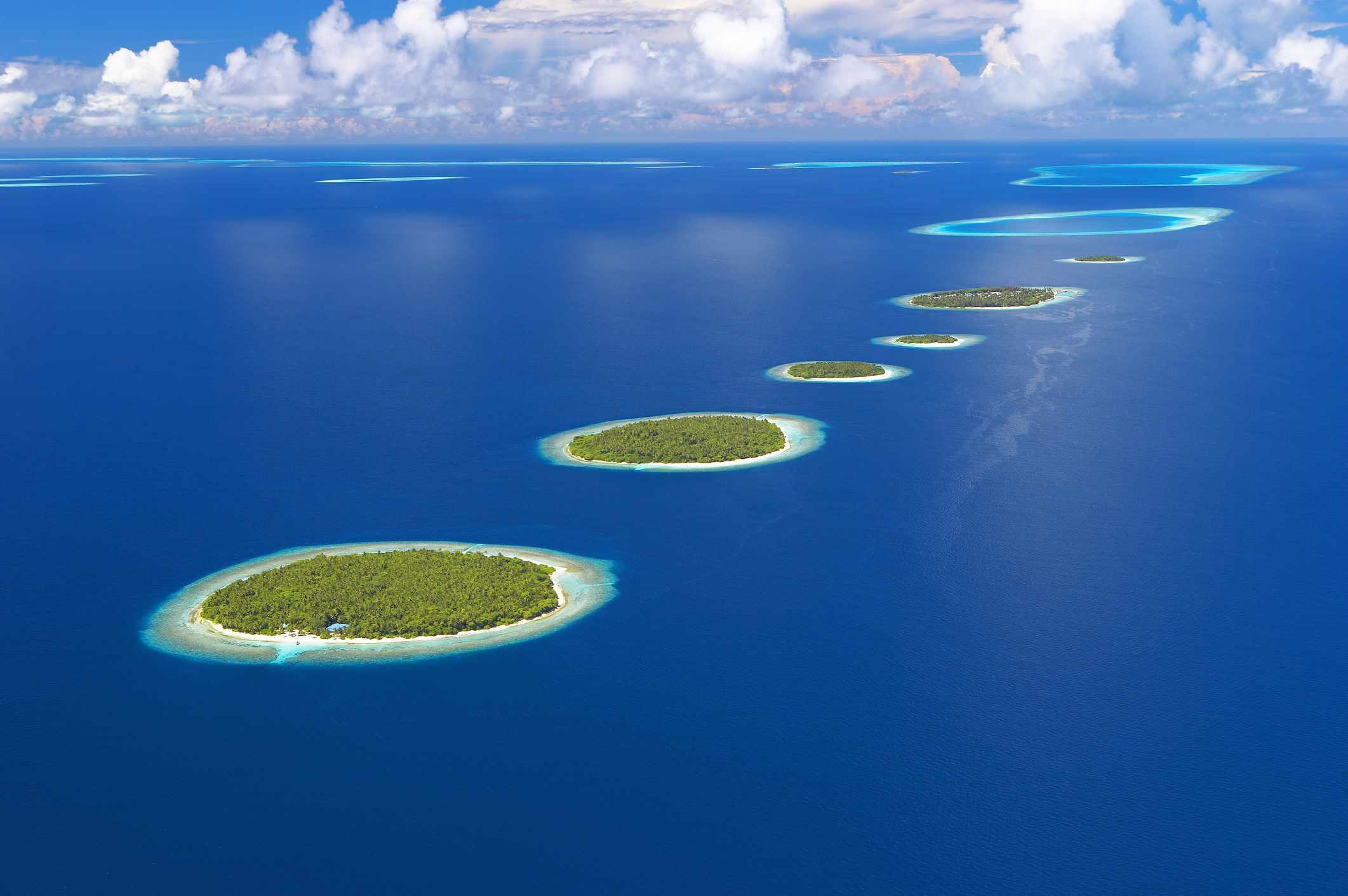 Maldives, Baa Atoll, aerial view