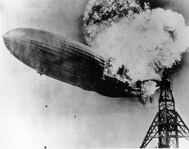 The Hindenburg burning on May 6, 1937.