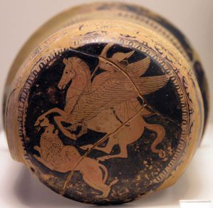 Bellerophon on Pegasus spears the Chimera, on an Attic red-figure epinetron 425-420 B.C.