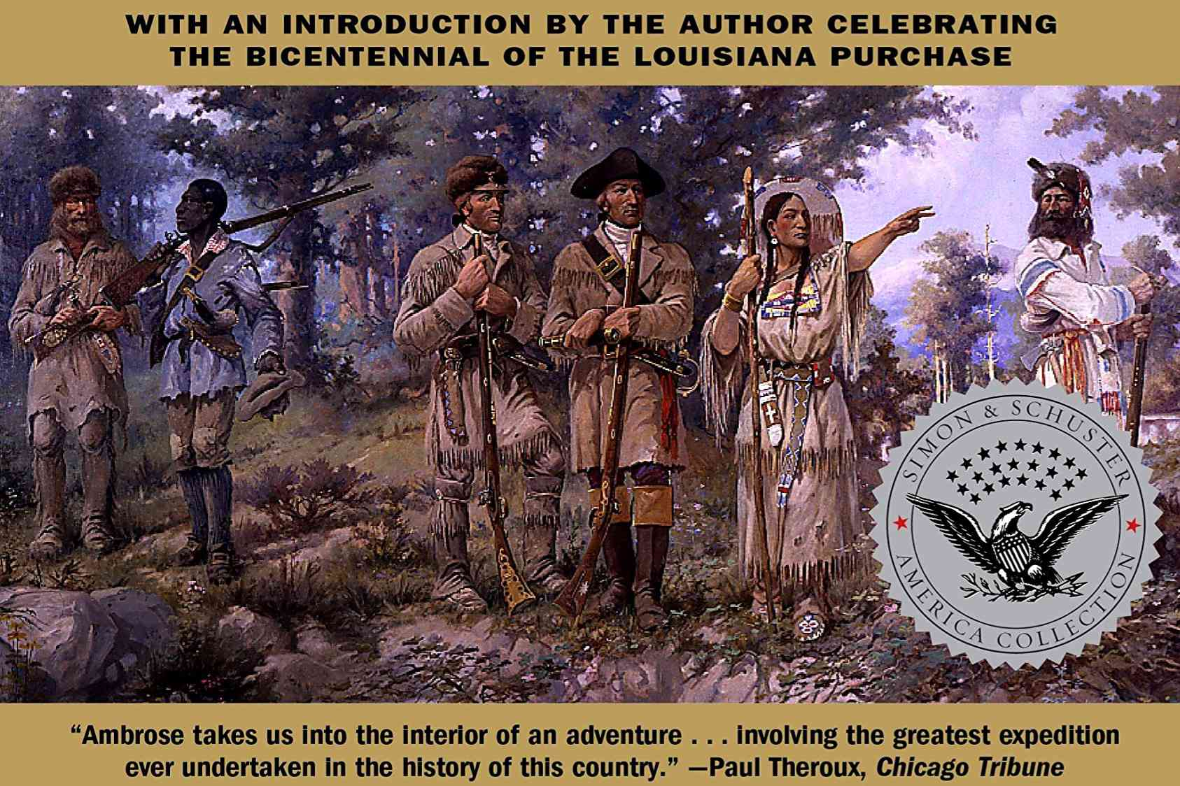 """The cover of """"Undaunted Courage"""" depicts Lewis, Clark, and their fellow explorers"""