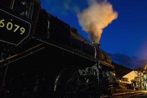 Steam engine venting steam