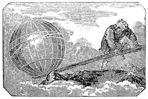 Archimedes' lever engraving from Mechanics Magazine published in London in 1824.