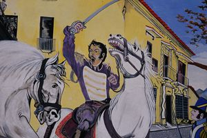Mural depicting Simon Bolivar fighting for independence.