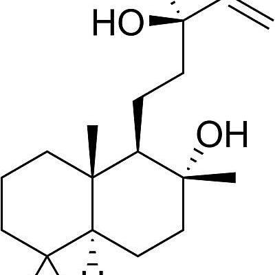 Esta es la estructura química del sclareol.