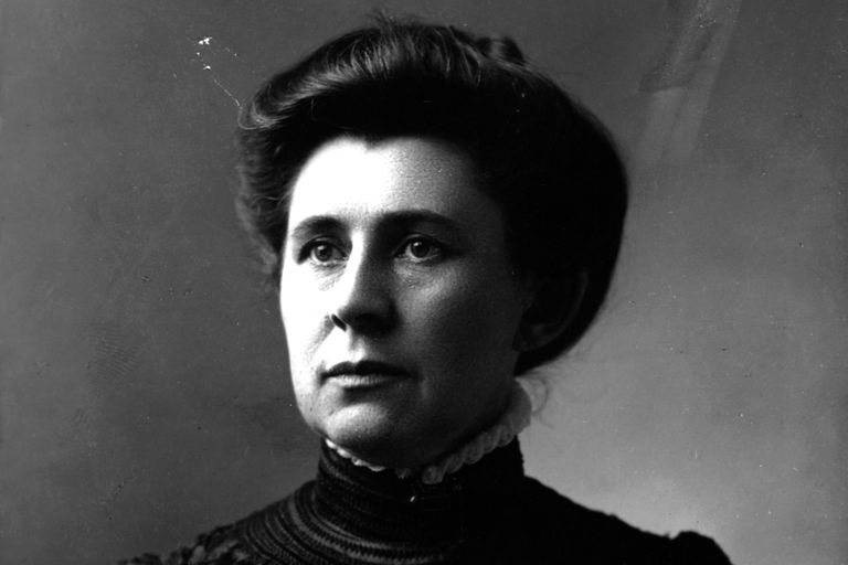 Ida Tarbell in a high collar and neatly styled hair