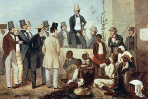 American gathered around a slave market, 1852