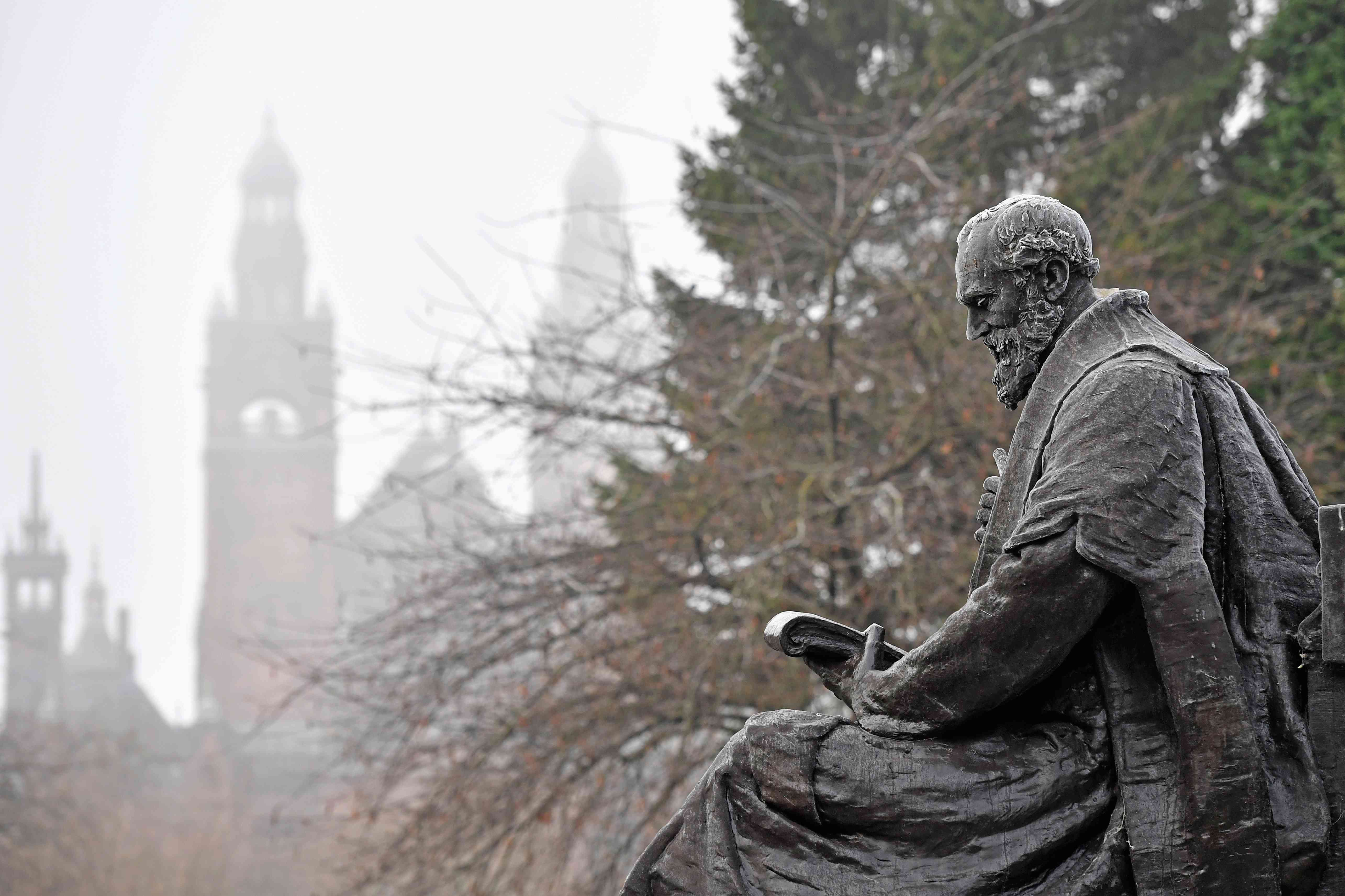 Frost-covered statue of Lord Kelvin