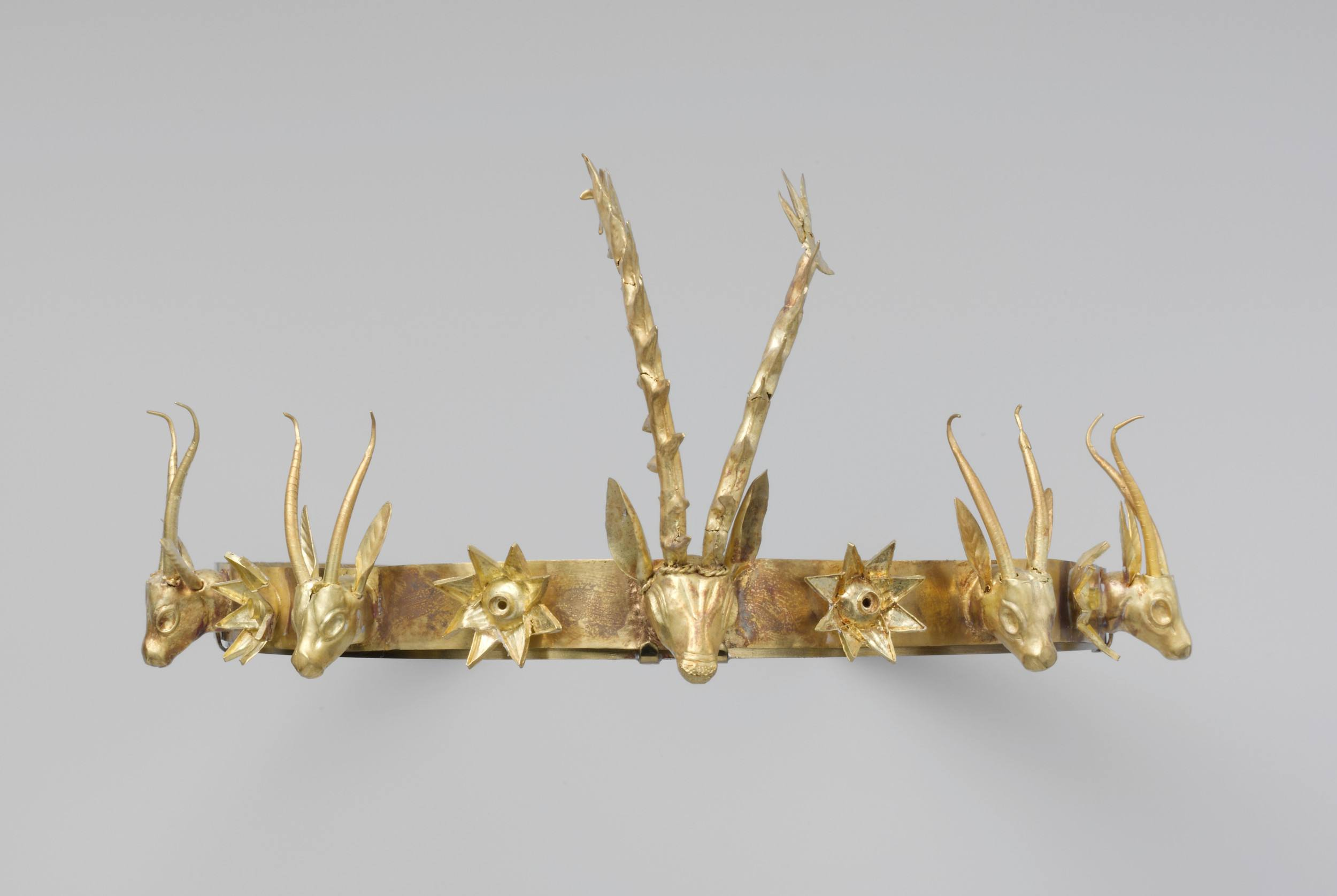 Headband with Heads of Gazelles and a Stag Between Stars or Flowers, Second Intermediate Period Egypt Dynasty 15