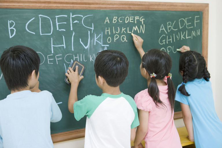 japanese students writing English on chalkboard