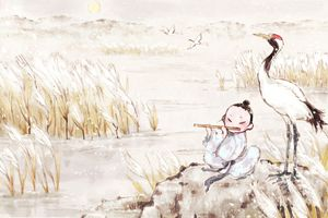 Painting of boy fluting in reed marshes