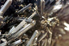 Stibnite crystals