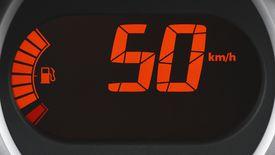 A car's speedometer, displayed in kilometers per hour