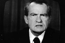 Richard Nixon on a television screen