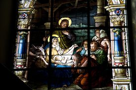 Stained-glass nativity scene