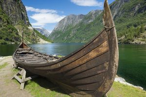 Small viking boat on display at Aurlandsfjorden, Norway