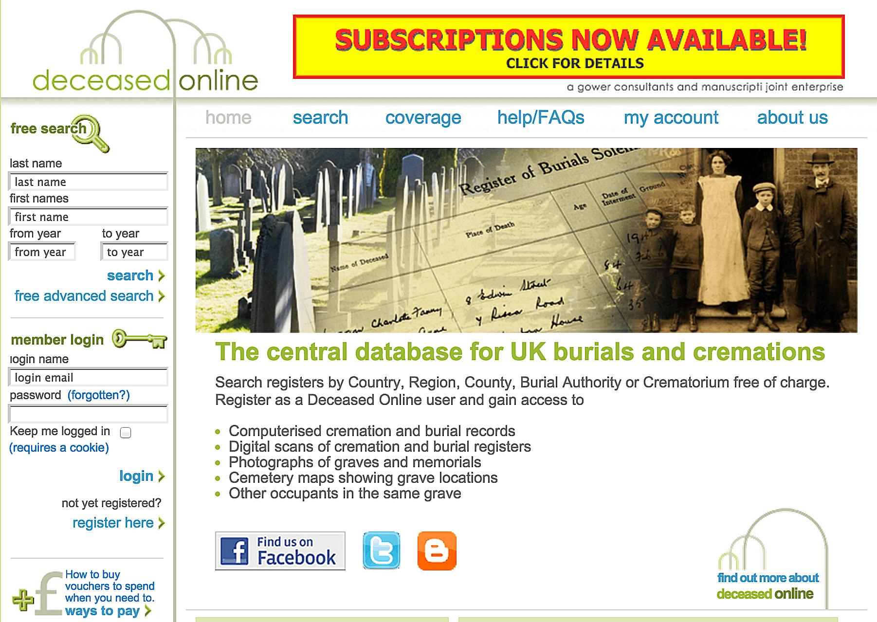 Deceased Online, μια κεντρική βάση δεδομένων για ταφές και νεκροτομίες στο Ηνωμένο Βασίλειο